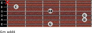 Gm add(4) for guitar on frets 3, 5, 5, 3, 1, x