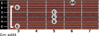 Gm add(4) for guitar on frets 3, 5, 5, 5, 3, 6