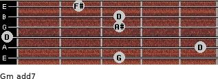 Gm(add7) for guitar on frets 3, 5, 0, 3, 3, 2