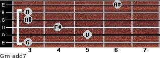 Gm(add7) for guitar on frets 3, 5, 4, 3, 3, 6