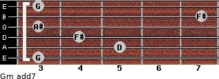 Gm(add7) for guitar on frets 3, 5, 4, 3, 7, 3