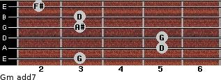 Gm(add7) for guitar on frets 3, 5, 5, 3, 3, 2