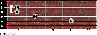 Gm(add7) for guitar on frets x, 10, 8, 7, 7, x