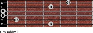 Gm add(m2) for guitar on frets 3, 1, 0, 0, 3, 4