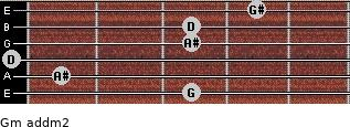 Gm add(m2) for guitar on frets 3, 1, 0, 3, 3, 4