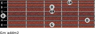 Gm add(m2) for guitar on frets 3, 5, 0, 3, 3, 4