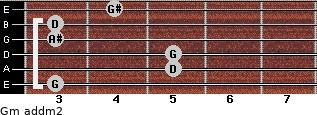 Gm add(m2) for guitar on frets 3, 5, 5, 3, 3, 4