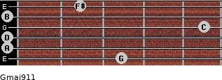 Gmaj9/11 for guitar on frets 3, 0, 0, 5, 0, 2
