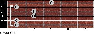 Gmaj9/11 for guitar on frets 3, 3, 4, 4, 3, 5