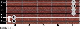 Gmaj9/11 for guitar on frets 3, 3, 7, 7, 7, 7