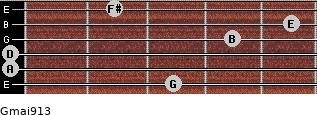 Gmaj9/13 for guitar on frets 3, 0, 0, 4, 5, 2