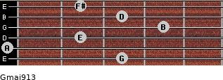 Gmaj9/13 for guitar on frets 3, 0, 2, 4, 3, 2