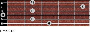 Gmaj9/13 for guitar on frets 3, 2, 0, 2, 5, 2