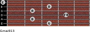 Gmaj9/13 for guitar on frets 3, 2, 4, 2, 3, 0