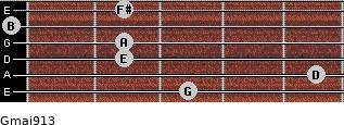 Gmaj9/13 for guitar on frets 3, 5, 2, 2, 0, 2