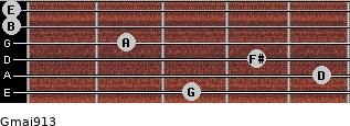 Gmaj9/13 for guitar on frets 3, 5, 4, 2, 0, 0