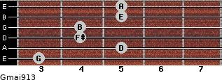 Gmaj9/13 for guitar on frets 3, 5, 4, 4, 5, 5