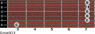 Gmaj9/13 for guitar on frets 3, 7, 7, 7, 7, 7