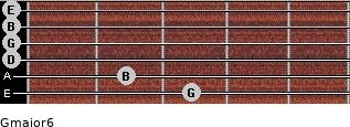 Gmajor6 for guitar on frets 3, 2, 0, 0, 0, 0