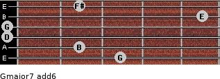 Gmajor7(add6) for guitar on frets 3, 2, 0, 0, 5, 2