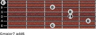 Gmajor7(add6) for guitar on frets 3, 5, 4, 4, 3, 0