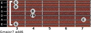 Gmajor7(add6) for guitar on frets 3, 7, 4, 4, 3, 3