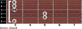 Gmin for guitar on frets 3, 5, 5, 3, 3, 3