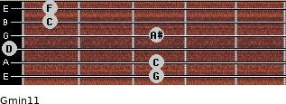 Gmin11 for guitar on frets 3, 3, 0, 3, 1, 1