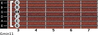 Gmin11 for guitar on frets 3, 3, 3, 3, 3, 3