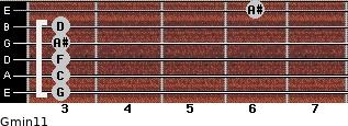 Gmin11 for guitar on frets 3, 3, 3, 3, 3, 6