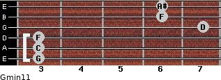 Gmin11 for guitar on frets 3, 3, 3, 7, 6, 6