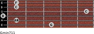 Gmin7/11 for guitar on frets 3, 1, 0, 5, 1, 1