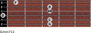 Gmin7/11 for guitar on frets 3, 3, 0, 3, 3, 1