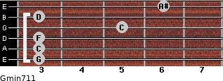 Gmin7/11 for guitar on frets 3, 3, 3, 5, 3, 6