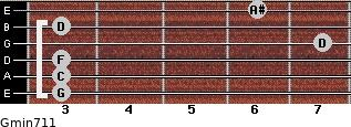 Gmin7/11 for guitar on frets 3, 3, 3, 7, 3, 6