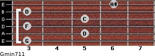 Gmin7/11 for guitar on frets 3, 5, 3, 5, 3, 6