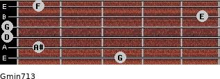 Gmin7/13 for guitar on frets 3, 1, 0, 0, 5, 1