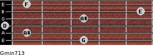 Gmin7/13 for guitar on frets 3, 1, 0, 3, 5, 1