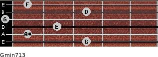 Gmin7/13 for guitar on frets 3, 1, 2, 0, 3, 1