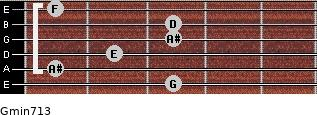 Gmin7/13 for guitar on frets 3, 1, 2, 3, 3, 1