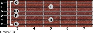 Gmin7/13 for guitar on frets 3, 5, 3, 3, 5, 3