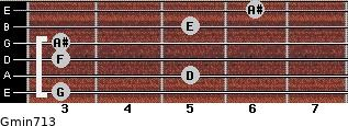 Gmin7/13 for guitar on frets 3, 5, 3, 3, 5, 6