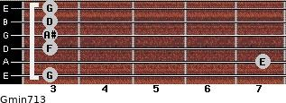 Gmin7/13 for guitar on frets 3, 7, 3, 3, 3, 3