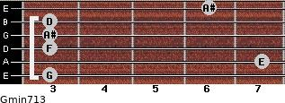 Gmin7/13 for guitar on frets 3, 7, 3, 3, 3, 6