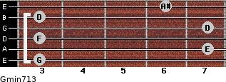Gmin7/13 for guitar on frets 3, 7, 3, 7, 3, 6