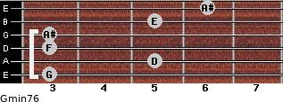 Gmin7/6 for guitar on frets 3, 5, 3, 3, 5, 6