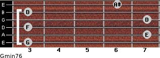 Gmin7/6 for guitar on frets 3, 7, 3, 7, 3, 6