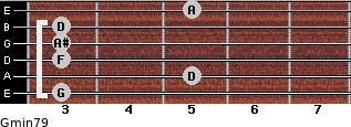 Gmin7/9 for guitar on frets 3, 5, 3, 3, 3, 5
