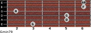 Gmin7/9 for guitar on frets 3, 5, 5, 2, 6, 6