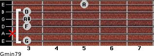 Gmin7/9 for guitar on frets 3, x, 3, 3, 3, 5